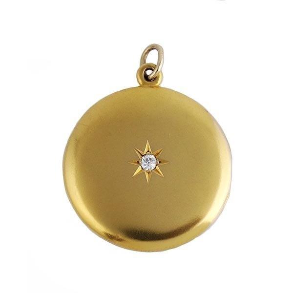 Victorian 14K Gold and Diamond Picture Locket Pendant
