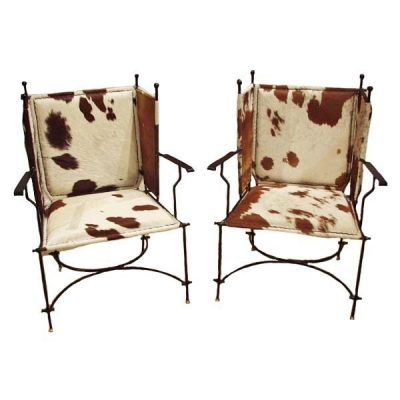 Pair Of Iron And Cow Hide Chairs 1970's