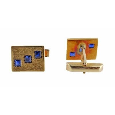 Elegant 14K Gold Sapphire Toggle Back Cufflinks