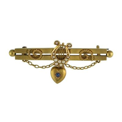 Victorian 15Ct Pearl Lyre and Sapphire Heart Bar Pin