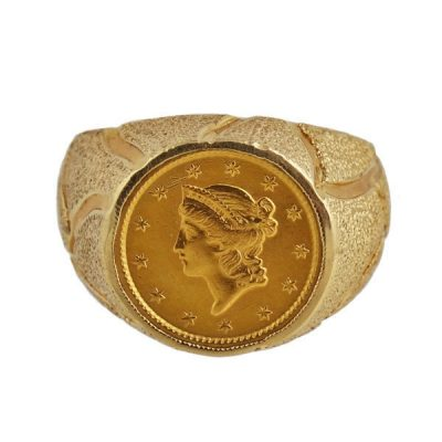 14K Gold Men's 1851 Liberty Head One Dollar Coin Ring