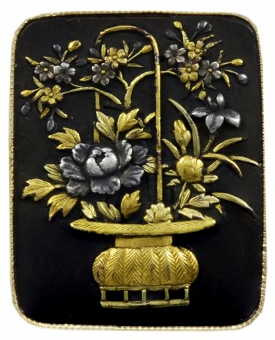An Antique Japanese Shakudo Work Gold & Silver Ring