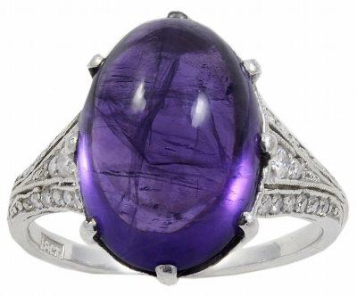 An Art Deco Cabochon Amethyst & Diamond Ring