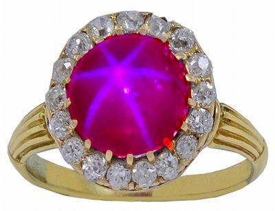 A beautiful Victorian Natural Star Ruby & Diamond Ring