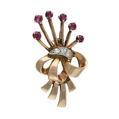 Retro 14K Rose Gold Ruby & Diamond Floral Spray Brooch