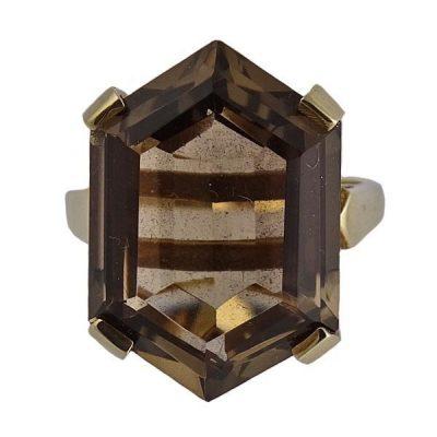Modernist Period 14K Gold Smokey Topaz Ring