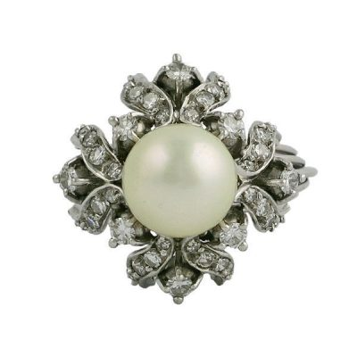 Vintage Large Cultured Pearl and Diamond Cocktail Ring