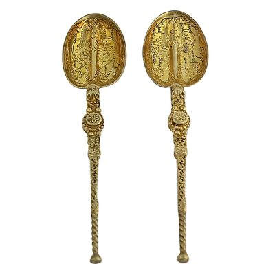 2 Gilt Sterling 16th C. Style Spoons London 1936-37
