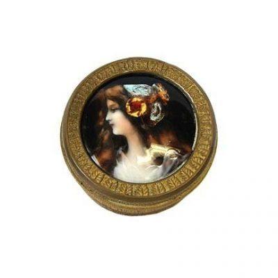 French Limoges Enamel Portrait Box Circa 1880