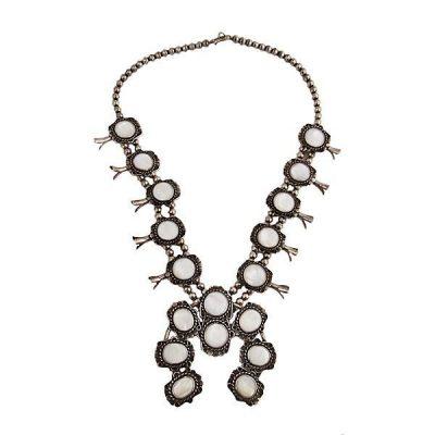 Native American Silver MOP Squash Blossom Necklace