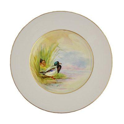 Set Of 12 Minton Porcelain Game Bird Plates C 1920
