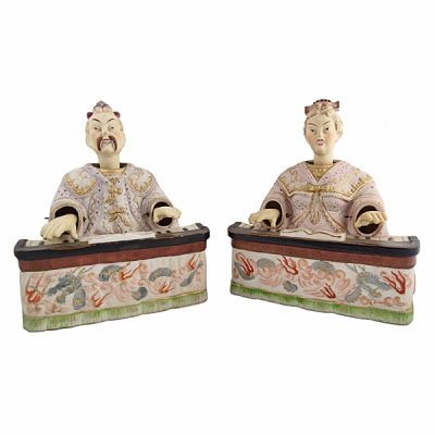 "Ardalt Porcelain "" Chinese "" Nodding Head Figures 1945"
