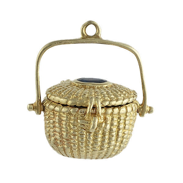 Vintage 14K Gold Sapphire Nantucket Basket Charm
