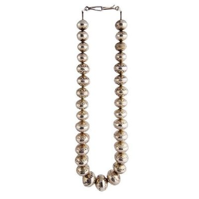 Vintage Native American Silver Bead Necklace