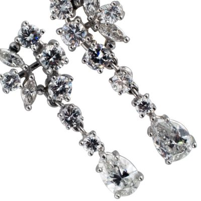 A Pair of Swinging Diamond Drop Earrings