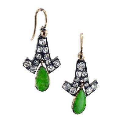 Precious Antique Jade & Diamond Pendent Earrings