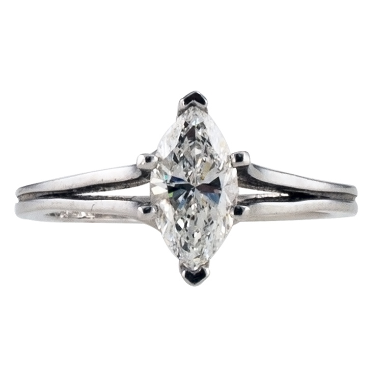 0.86 Carat Marquise Very Fine Solitaire Ring