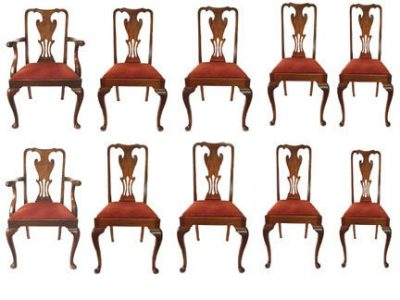 10 Georgian Style Mahogany Dining Chairs 2 Arm 8 Sides