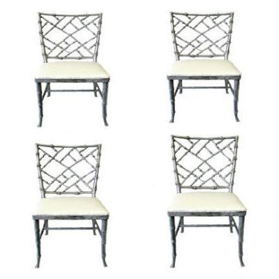 Set Of Four Aluminum Cock Pen Chairs C 1960