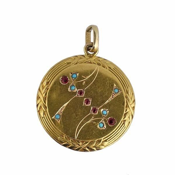 Victorian 18K Gold Persian Turquoise Ruby Pendant