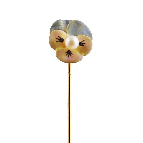 Art Nouveau 14K Gold Enamel Pansy Stick Pin with Pearl