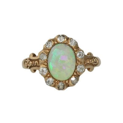 Victorian 14K Gold Rose Cut Diamond and Opal Ring