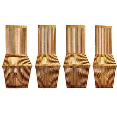Four 20th C Cantilevered Slatted Wood Chairs C. 1970