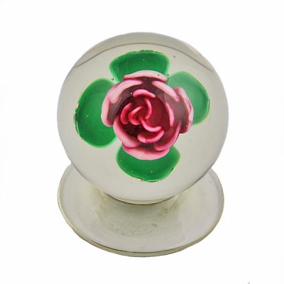Francis Whittemore Pink Rose Pedestal Glass Paperweight