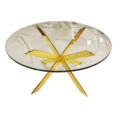 Pace Gilt Bronze and Glass Coffee Table