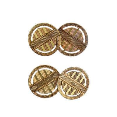 Carter Gough 14K Gold Art Deco Engraved Cufflinks