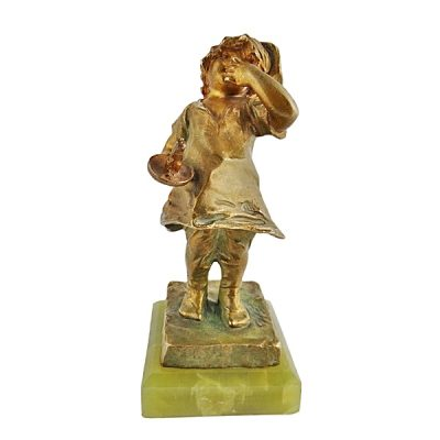 Lucien Alliot Bronze Boy With Chamberstick