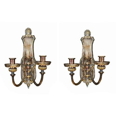 Georgian Style Silvered Brass Wall Sconces