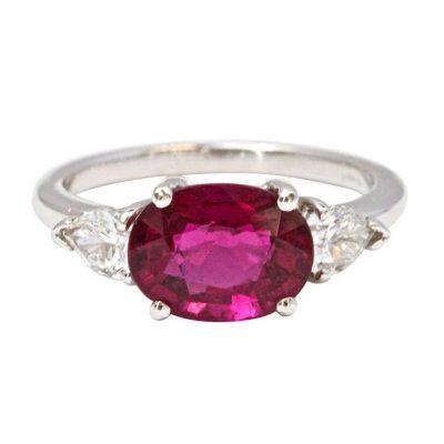 Tourmaline and Diamond Engagement Ring by JDJ