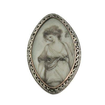 Georgian Gold & Silver Full Portrait Miniature Pin