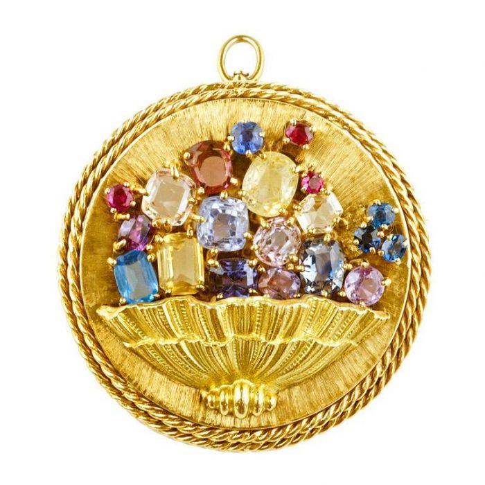Multi Colored Sapphire Gold Pendant