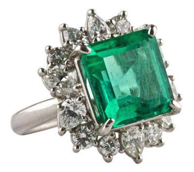 6.30 Cts. Colombian Emerald Diamond Platinum Ring