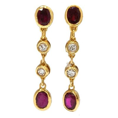 Fred Paris Ruby and Diamond Earrings