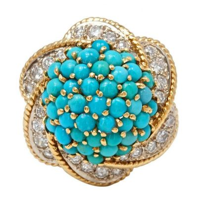 Fabulous Turquoise and Diamond Gold Ring