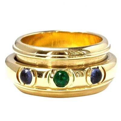 Piaget Emerald and Sapphire Gold Ring