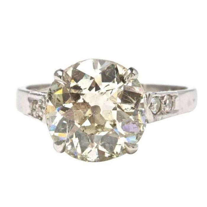 Old European 4.16 Carat Diamond and Platinum Ring