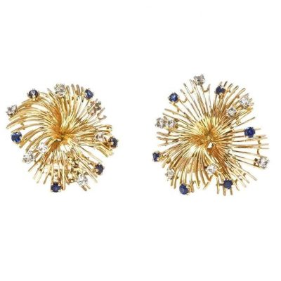French Diamond and Sapphire Spray Earrings