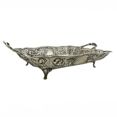19th C. Continental Repousse Silver Basket
