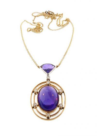 Edwardian 14K Gold Diamond Amethyst Pendant Necklace