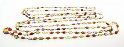Victorian 14K Gold & Multigem Long Chain Necklace