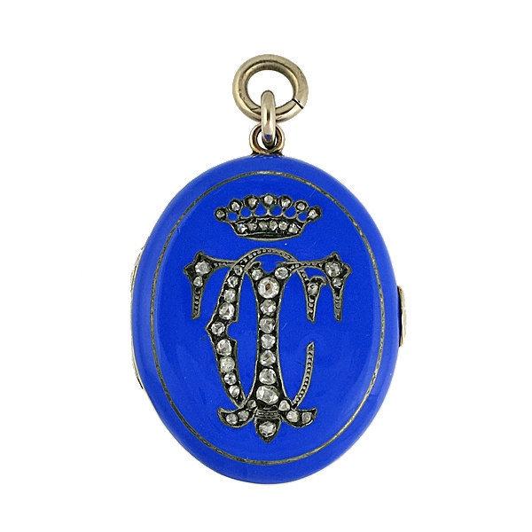 Victorian 14K Gold Blue Enamel Diamond Picture Locket
