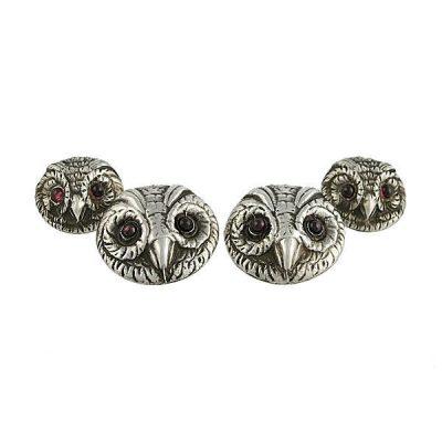 Sterling Two Sided Owl Cufflinks Garnet Glass Eyes