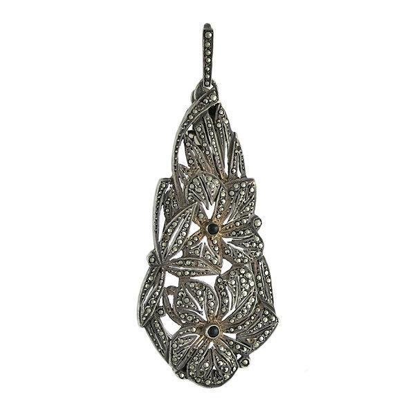 Art Deco Silver Marcasite & Onyx Floral Lorgnette / Pendant