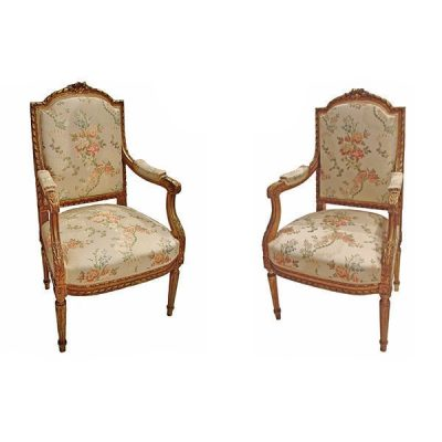 Pair French Louis XVI Style Bergeres Circa 1880