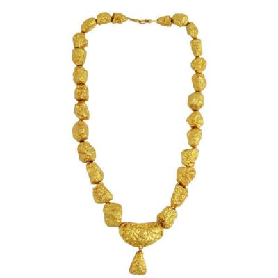 Vintage 18K Gold Chunky Nugget Bead Necklace With Drop