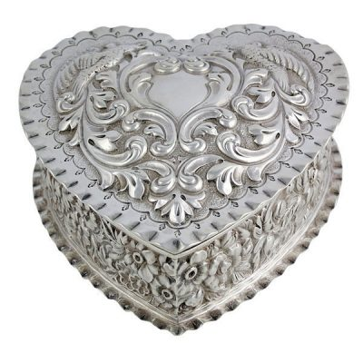 Sterling Silver Repousse Heart Shaped Box Dominick & Haff 1888